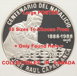 Chess 1888 - 1988 Jose Raul Capablanca Champion = Poster Coin 10 Sizes 14-3.5ft