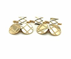 Vintage 14k And Co Tuxedo Stud And Cuff Link Set 16g