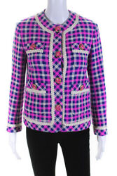 Womens Wool Check Print Button Down Tweed Jacket Blue Pink Size 0