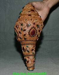 11.6 Old Tibetan Filigree Turquoise Gems Buddhism Conch Shell Trumpet Horn