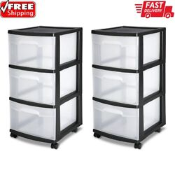3 Drawer Plastic Storage Rolling Cart Cabinet Organizer Container Set Of 2 New