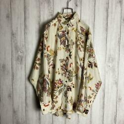 Kenzo Jeans Long Sleeve Design Shirt Ivory One Size Mens Used Free Shipping