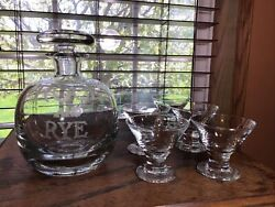 Vintage Crystal Rock And Rye Etched Decanter W/5 2 Oz Glasses