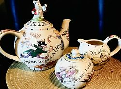 Cardew Limited Edition 2008 Alice In Wonderland Mad Hat Tea Party 3 Pc Set, New