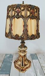 Antique Style Cast Iron Lamp Silk Shade W/ Coral 11-22-21 Art Deco