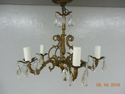 Vintage Mid-century Shabby Chic Victorian Hanging 5 Arm Light Glass Prisms G23