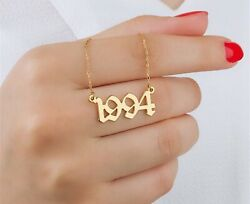 Personalised 925 Sterling Silver Birth Year Necklace Old English Number Font