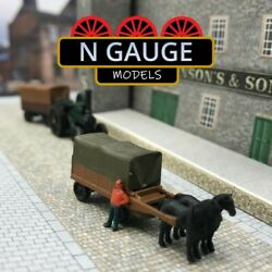 N Scale Gauge Horse And Cart 1148 - High Canvas Trailer Wagon 1160