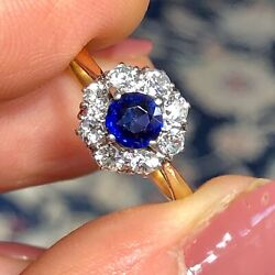 Antique Early 20th Century Sapphire Halo Ring 18ct Gold And Platinum Size M1/2