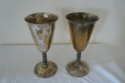 2 Silver Plated Goblets Spain W/ Twisted Stems 7 Inches High Free Sh Used