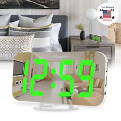 Digital Alarm Clock6 Inch Large Led Display With Dual Usb Charger Ports Snooze