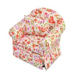 Dolls House Floral Cottage Armchair Miniature Chintz Living Room Furniture
