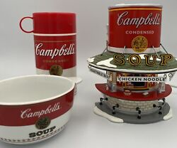 Dept 56 Snow Village Campbell's Soup Counter 98' Thermos Can-tainer And Bowl