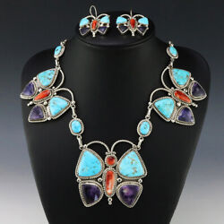 Native American Zuni Butterfly Necklace And Earrings Set By Diane Lonjose