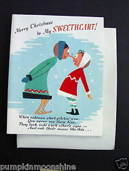 E618- Unused Xmas Greeting Card Prelude To An Eskimo Kiss, Red Flocked Accents