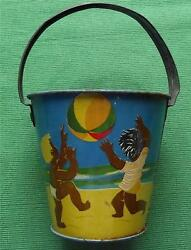 C1950 Tinplate Seaside Sand Pail Bucket With Brown Children Playing On Beach