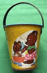 C1950 Tinplate Seaside Sand Pail Bucket With Teddies And Rabbits