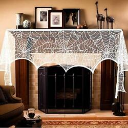 Aerwo Halloween Fireplace Mantel Scarf, Halloween Decorations White Lace Spider