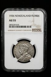 1936 Florin New Zealand George V Ngc Au55 Key Date 150k Mintage