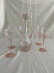 Vintage Art Deco Pink Frosted Wine Decanter And Glasses