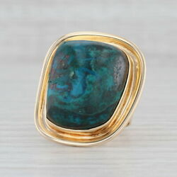 Marbled Turquoise Statement Ring 14k Gold Size 6.5 Native American Chrysocolla