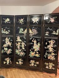 Vintage Asian Chinese Screen Room Divider 4 Panel