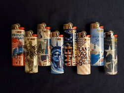 Bic Lighters Usa Limited Edition - Lot Of 8 Unique Designed Lighters