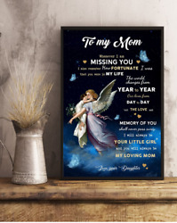 To My Mom From Daughter - Angel Canvas .75inch Wall Art Home Decor Mothers Day G