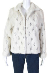 Dennis Basso Womens Faux Pearl Embellished Blonde Mink Jacket White Size Small