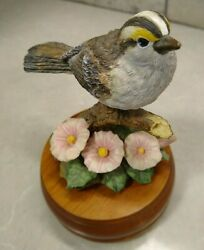 Westland Music Box Sparrow And Flowers Plays Sing Item No P322 Wooden Base