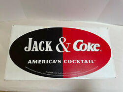 Jack And Coke America's Cocktail Metal Tin Sign Rectangle 32x17 Read Description