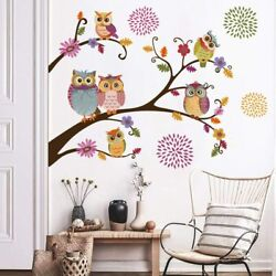 Owl Flower Tree Wall Sticker Cute Vinyl Removable Room Home Decal Decoration Art
