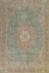 Antique Floral Tebriz Hand-knotted Area Rug Evenly Low Pile Green Carpet 9and039x13and039