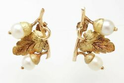 Superb Pair Antique Early 20c 14k Rose And Yellow Gold Acorn Pearl Earrings