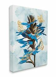 Stupell Industries Blue Tropical Floral Blooming Gold Butterfly Outlines Desi...