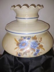 Vintage Hand Painted Cream Glass 10 Lamp Shade Fluted Ruffle Top Blue Flowers