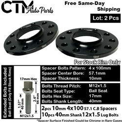 2pc 10mm Thick 4x100mm 57.1 Cb Hubcentric Wheel Spacer Kit Ball Bolt Fit Vw Audi
