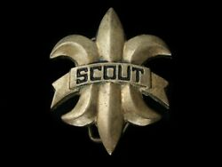 Rb03112 Vintage 1970s Scout Boy Scouts Of America Solid Brass Belt Buckle
