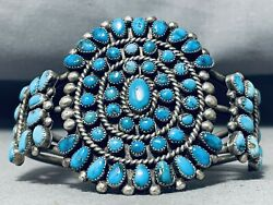 One Of The Best Vintage Navajo Morenci Turquoise Sterling Silver Bracelet