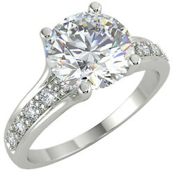 1.64 Ct Round Cut Vs1/e Solitaire Pave Diamond Engagement Ring 14k White Gold