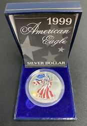 Colorized 1999 American Silver Eagle Dollar 1 Coin Walking Liberty In Box And Coa