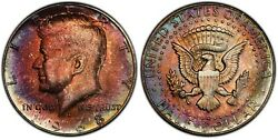 1968-d Kennedy Half Dollar Ms66 W/ Incredible Vibrant Colorful Toning