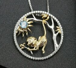 2ct Round Cut Blue Topaz Monkey Pendant 14k Two-tone Gold Over 18'' Free Chain