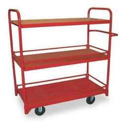 Dayton 1de94 Steel Utility Cart With Lipped Guards And Removable Metal Shelves,