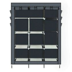 NEW Portable Closet Storage Organizer Wardrobe Clothes Rack Shelves