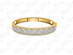 2.75ct Grand Looking Diamond Cluster Bangle In 10k Yellow Gold Over Silver
