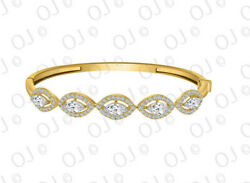 3.00ct Marquise And Round Diamond Intertwined Bangle -10k Yellow Gold Over Silver