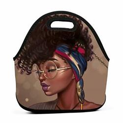 Afro African Women Lady Neoprene Lunch Bag Insulated Lunch Box Tote for Women... $20.11