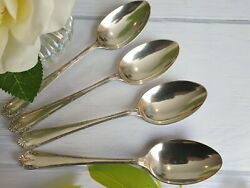 Waring And Gillow Art Deco Cutlery Silver Plated Set Of 4 X Table Serving Spoons
