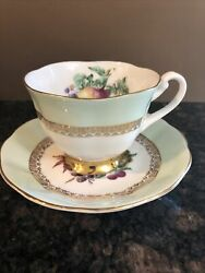 Imperial Fine English China Teacup And Saucer 22k Gold Decorated With Fruits And
